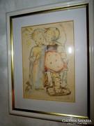 Gyerekszobába keretezett grafika Gárdonyi M. E. jelzéssel