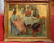 Ebédhez készülő cigány család -gyönyörű,impozáns mű