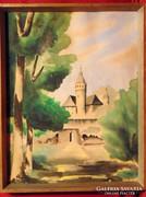 Petschat / Vár a zöld lombok között - szép akvarell 1948-ból