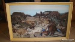 Kalló László  Hegyoldal 90 x 55 cm  zsűrizett olajfestmény