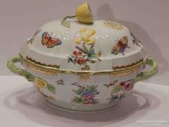 Gyönyörű Herendi leveses tál Viktória mintával