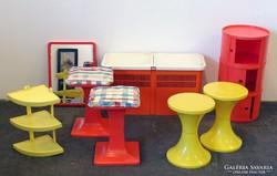 0K118 Retro design műanyag bútor szett 10 darab