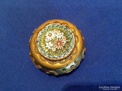 Gyönyörű régi mikro mozaikkal díszített réz szelence