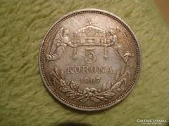 1907 5 korona gyönyörű állapot!!Patina