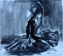 Pihenő balettáncos.Mesteri akvarell közvetlenül a műteremből