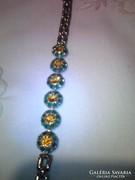 Smaragd és imperial topázzal ,aranyozott ezüst karkötő