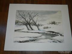 Jelzett akvarell - téli táj