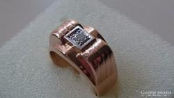Arany 18 K. ART NOUVEAU gyűrű brilliánsal díszítve (0.12 ct)