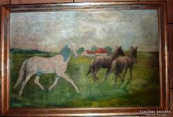 H.M. Lehnert: Tájkép lovakkal, olaj-farost, 1940 jelzéssel