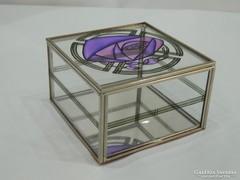 Angol art deco üveg ékszeres doboz virágmotívummal
