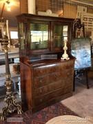 Antik bútor, Biedermeier tálaló, könyvszekrény, pohárszék 03