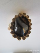Tűzaranyozott, Jade kővel díszített női gyűrű különlegesség