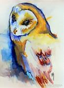 Bagoly.Biró Richárd művészi akvarell festménye