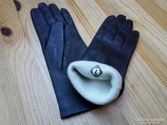 Új, 7-es méretű női sötétbarna színű bélelt bőrkesztyű eladó