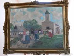 Hazafelé a templomból -  Régi festmény