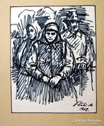 Réti Mátyás egyedi tus grafikája, 1978-ból, szignózott