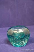 Türkiz kék üvegváza, tömör, súlyos üveg (56)