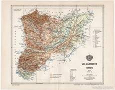 Vas vármegye térkép 1897, eredeti, antik