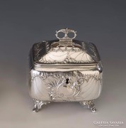 Ezüst barokk stílusú cukordoboz