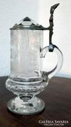 Metszett kristályüveg korsó