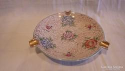 Kézzel festett dús mintás régi Hollóházi porcelán hamutál