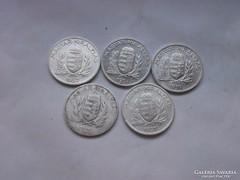Ezüst 1 pengő teljes sor !!26,27,37,38,39