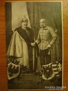 Katonai képeslap a 2 császárral , pecsét+bélyeg
