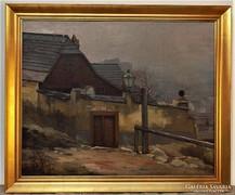 Markó Ernő (1868-1945) Tabán olajfestménye antik Eredeti !!!
