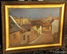 Eredeti Markó Ernő ( 1868-1945 ) Tabán ! 87x67cm