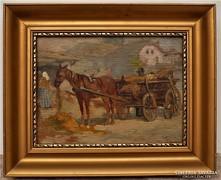 Egerváry Potemkin Ágost (1858-1930) Lovasszekér Antik festmé