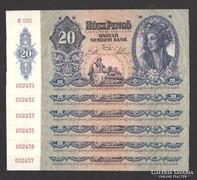 20 pengő 1941.  6 db sorszám követő!  UNC !!!