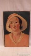 Udvardy : Kalapos nő festmény