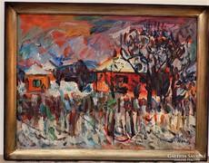 Monos József ( 1932- ) Havas kert. képcsarnokos festménye