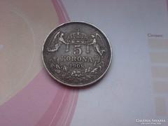 1908 ezüst 5 korona 24 gramm 0,900 Gyönyörű patinával,ritkáb