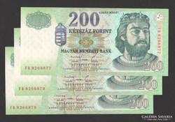 """200 forint 1998. """"FB"""" ! 3 db sorszám követő! UNC !"""