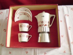 Régi Hollóházi VOLÁN feliratos kávéfőző csészékkel dobozában