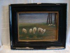 Legelő bírkák olaj - vászon festmény