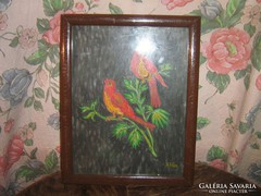 Csodaszép madaras vintage shabby chic festmény