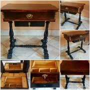Színvonalas antik varróasztal - Vicces áron!