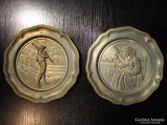 ÚJÉVI AKCIÓ - 2 db Antik Ón fali tányér ALKUKÉPES
