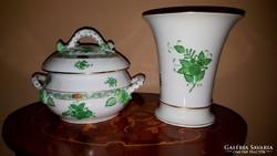 Herendi leveses tál és váza