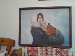 Madonna gyermekkel keretben festmény tempera vászon 84x65 cm