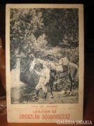 Régi lovas katonás képeslap ,itatás egy vízesésnél