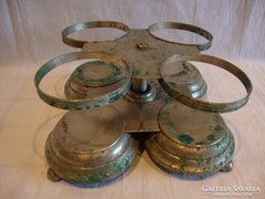 Régi alpakka asztali pohártartó állvány