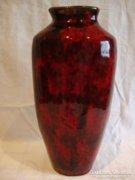 Retro iparművész kerámia váza , vérvörös