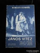 NEMZETI SZINHÁZ 1936 MŰSORFÜZET JÁNOS VITÉZ DAJKA JÁVOR GOBI
