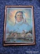 Indiános kép fém keretben