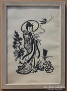 Műnsch: Japán nő napernyővel és teával