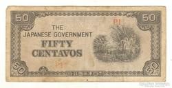 50 centavos 1942 Fülöp Szigetek Japán megszállás