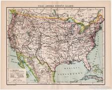 Észak - Amerikai Egyesült Államok térkép 1894, antik II.